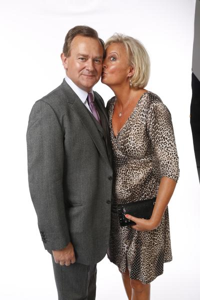 Hugh Bonneville, nominated for outstanding supporting actor in a drama series, with wife Lulu Williams at the L.A. Times photo booth.