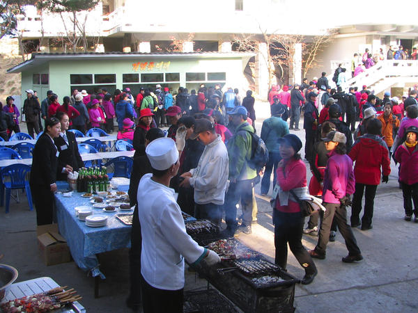 Vendors at Mt. Kumgang Resort in North Korea in November 2007, before it was closed after a South Korean tourist was shot and killed by the North Korean military for allegedly entering a forbidden zone. The resort was to be the site of reunions of families separated during the Korean War; those reunions were indefinitely postponed by North Korea on Saturday.