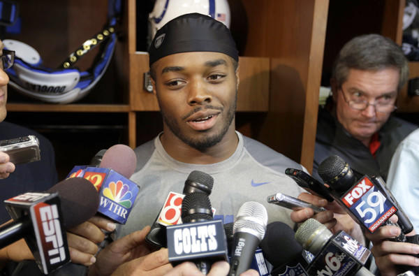 Trent Richardson talks to reporters in Indianapolis on Thursday after the Colts acquired him in a trade with the Cleveland Browns.