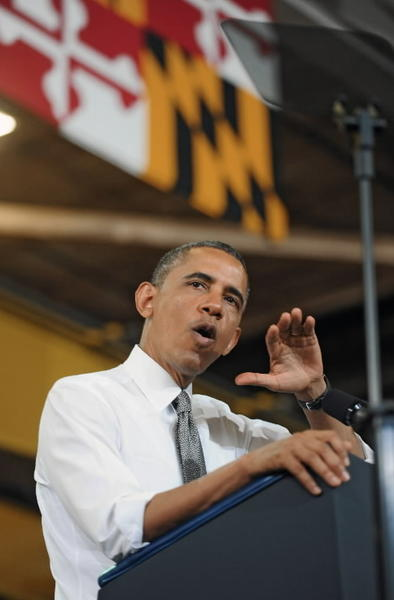 President Barack Obama speaks in Baltimore in May.