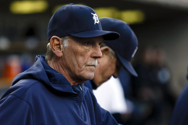 Sep 16, 2013; Detroit, MI, USA; Detroit Tigers manager Jim Leyland (10) watches from the dugout in the first inning against the Seattle Mariners at Comerica Park.