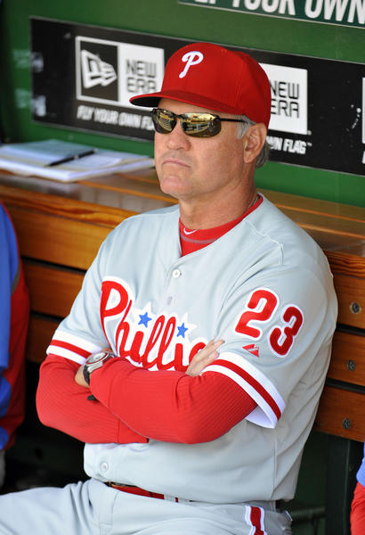 Phillies interim manager Ryne Sandberg in the dugout prior to a game against the Nationals.