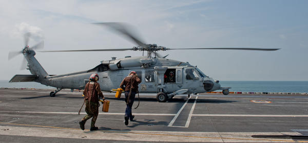 A file photo shows an MH60S Knighthawk aboard the carrier John C. Stennis. A similar helicopter crashed in the Red Sea, the Navy announced Sunday.