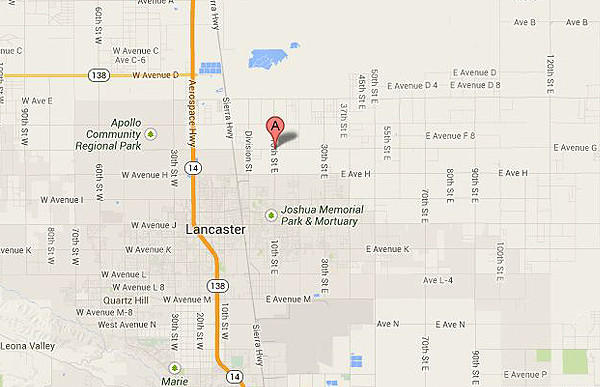 Map shows location of a fatal car crash in Lancaster.