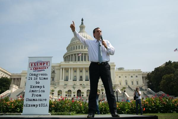 Ted Cruz vows he will seek to stop legislation to keep the government running unless President Obama agrees to defund the healthcare law. Above, Cruz speaks during a rally in Washington.