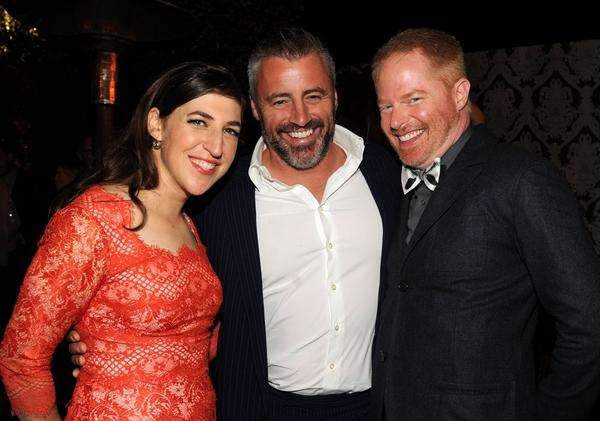 From left, Mayim Bialik, Matt LeBlanc and Jesse Tyler Ferguson pose for a photo at a reception for Emmy-nominated performers Friday in West Hollywood.