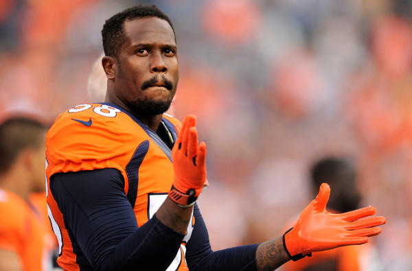 Broncos All-Pro linebacker Von Miller watches an exhibition game against the St. Louis Rams.