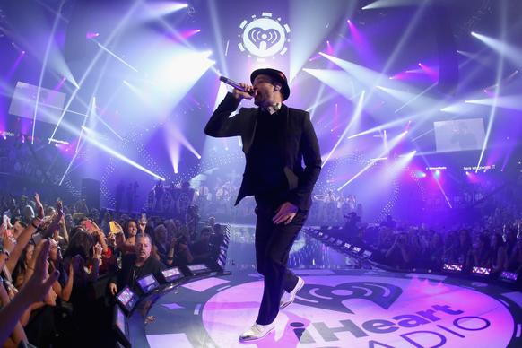 Justin Timberlake performs during the iHeartRadio Music Festival at the MGM Grand Garden Arena in Las Vegas on Saturday.