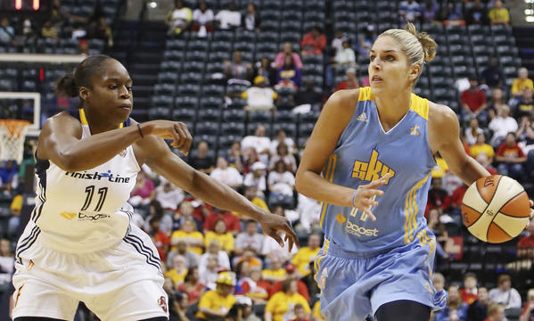 Chicago Sky forward Elena Delle Donne drives to the basket against Indiana Fever forward Karima Christmas at Bankers Life Fieldhouse.