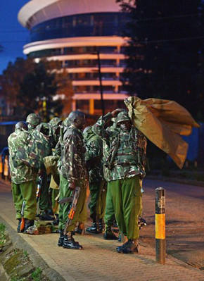 Near Kenya's Westgate mall, police stand guard