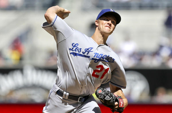 Dodgers starting pitcher Zack Greinke gave up only two hits in five innings against the Padres on Sunday.