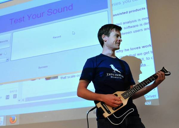 """Alex Monroe was part of a team that demonstrated """"Riffmaster, software that uses a guitar as an input device, replacing a keyboard, to launch programs or do other computer tasks."""