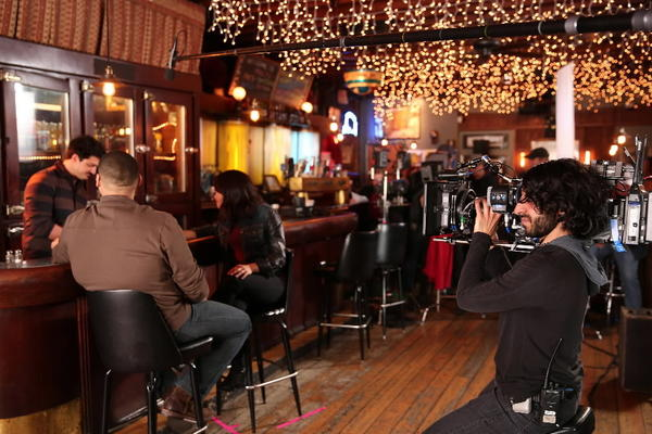 """""""Chicago Fire"""" films at Lottie's Pub April 12, 2013."""