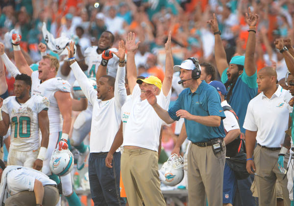 Miami Dolphins bench including Coach Joe Philbin celebrate in the closing minute in Sun Life Stadium in Miami Gardens, Sunday, Sept. 22, 2013, during the Dolphins home opener against the Atlanta Falcons.Joe Cavaretta, SunSentinel (c)2013......