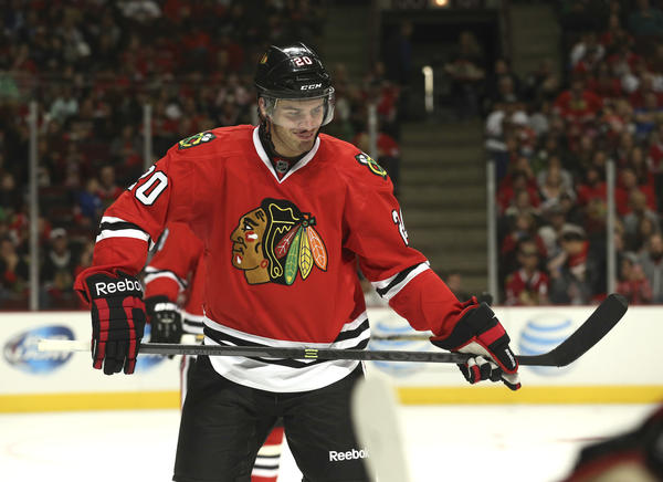 Brandon Saad during the second period of their team's scrimmage.
