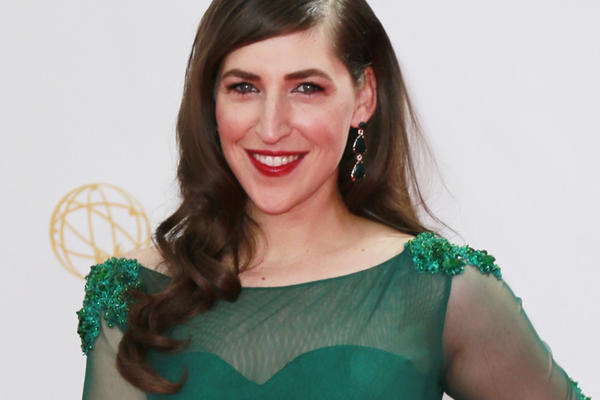 """Mayim Bialik of """"The Big Bang Theory"""" in an Oscar Tolentino Couture dress on the red carpet Sunday at the 65th Primetime Emmy Awards Show at Nokia Theatre."""