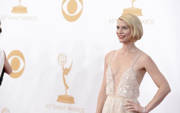 Claire Danes, wearing Atelier Versace, arrives at the 65th Primetime Emmy Awards at Nokia Theatre on Sunday Sept. 22, 2013, in Los Angeles.