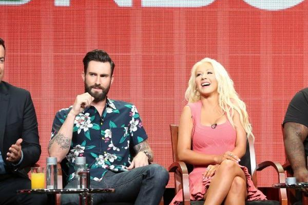 """The Voice"" host Carson Daly, from left, with judges Adam Levine, Christina Aguilera and CeeLo Green."