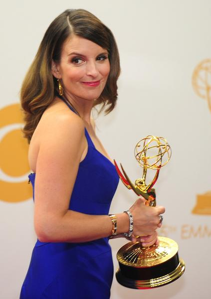 "Tina Fey with her Emmy for comedy writing for ""30 Rock."""