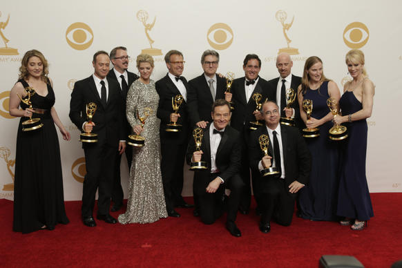"The ""Breaking Bad"" crew, winner of the drama series Emmy at the 65th Annual Primetime Emmy Awards, pose in the press room."