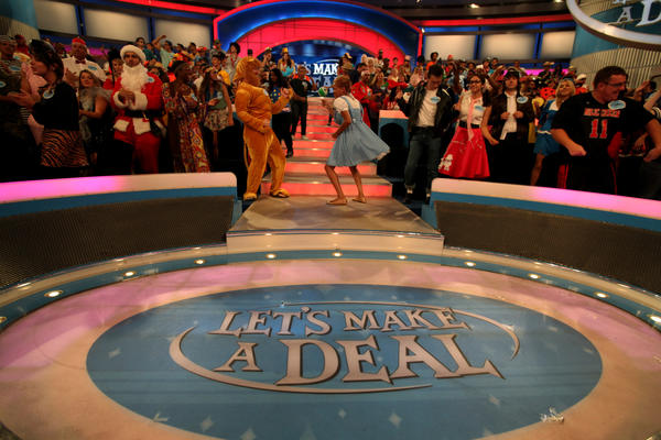 "Jonathan Hamrell, 33, left, of and Kiana Merritt, right, 27, dancing during the filming of the game show ""Let's Make a Deal,"" in Hollywood, CA September 6, 2013. (Francine Orr/ Los Angeles Times)"