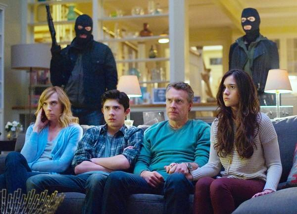 "Toni Collette, left, stars with Tate Donovan, second from right, Quinn Shephard, right, and Mateus Ward in ""Hostages."""