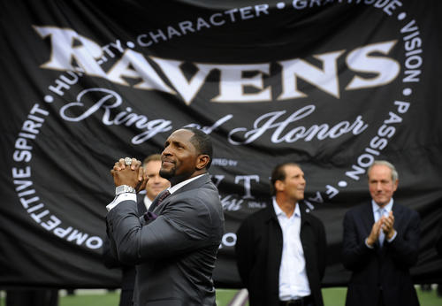 Former Ravens linebacker Ray Lewis was inducted into the Ring of Honor at halftime of the Ravens-Texans game at M&T Bank Stadium.