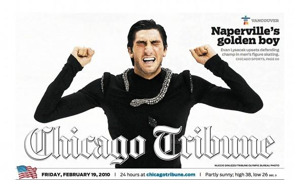 The Chicago Tribune front page after Evan Lysacek's most recent competition.