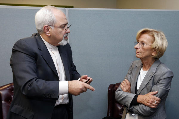 Iranian Foreign Minister Mohammad Javad Zarif meets with Italian Foreign Minister Emma Bonino on Monday. Zarif is scheduled to meet Thursday with Secretary of State John Kerry.