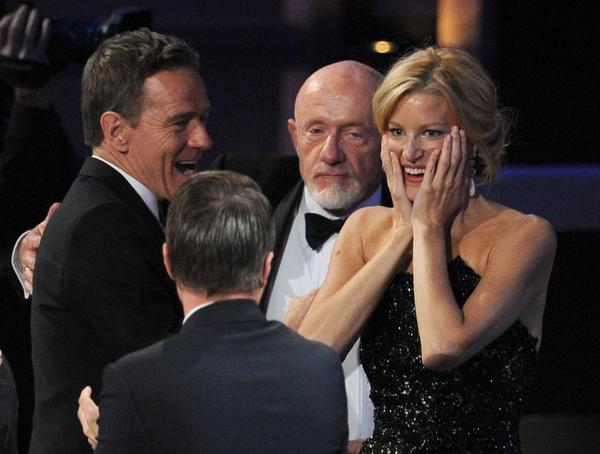 "From left, ""Breaking Bad"" cast members Bryan Cranston, Aaron Paul, Jonathan Banks and Anna Gunn appear on stage during Sunday night's Emmy Awards."