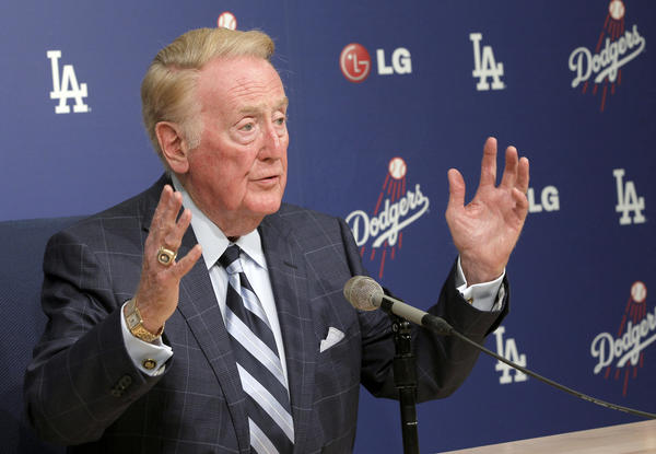 Vin Scully speaks during news conference last month at Dodger Stadium.