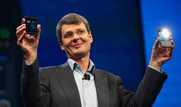 BlackBerry Chief Executive Thorsten Heins displays the BlackBerry 10 smartphone at an event in New York in January. BlackBerry has signed a letter of intent to be bought by a consortium led by Fairfax Financial Holdings Limited.