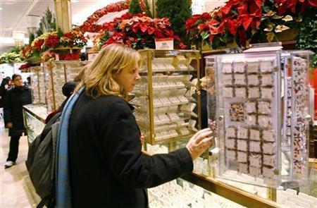 A woman shops for jewellery at Macy's department store in New York.