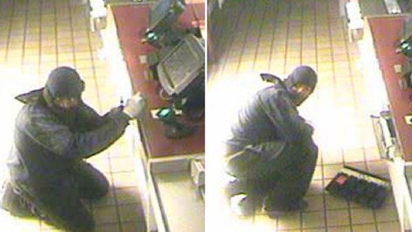 Bloomfield police released these surveillance photos of a suspected burglar in hopes of finding the person who stole money from a Dunkin' Donuts early Sunday morning.