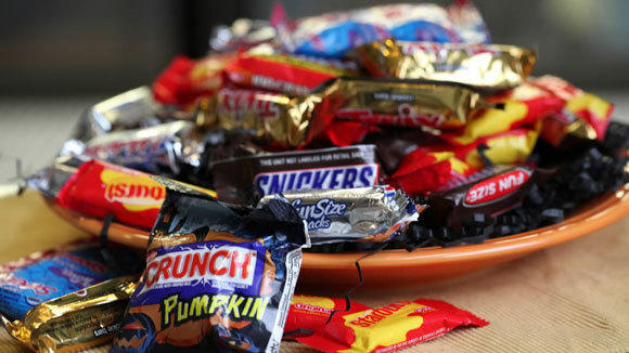 Halloween candy is ready for the trick-or-treaters.