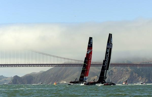 The U.S. and New Zealand boats compete for the America's Cup in San Francisco Bay.