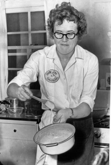 Julia Child stirs a custard