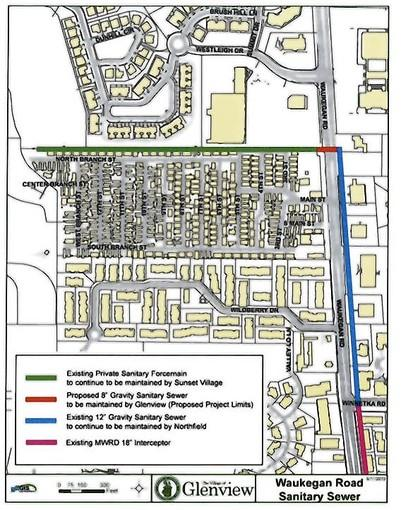 A map of the sanitary sewer project the Village of Glenview recently approved. The red line represents the future sewer connection, which is going to be created as a result of the plan.
