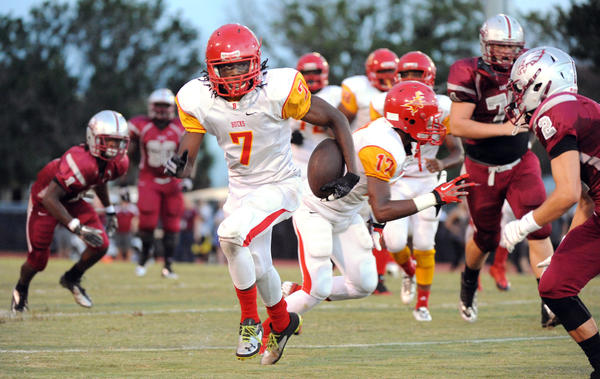 Deerfield Beach wide receiver Justin Morgan had three catches for 61 yards and a touchdown against Douglas. He also returned a kickoff for a touchdown.