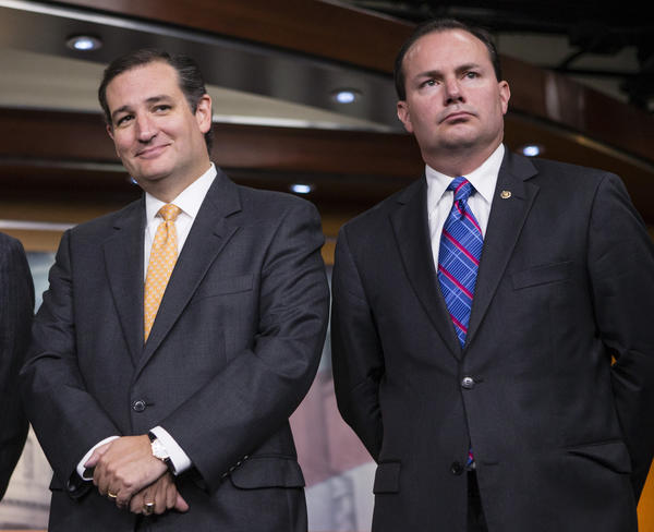 Sens. Ted Cruz (R-Texas), left, and Mike Lee (R-Utah) during a news conference with conservative congressional Republicans at the Capitol in Washington last week.