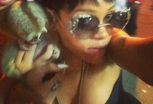 A photo of singer Rihanna posing with a slow loris in Thailand has led to the arrest of two men.