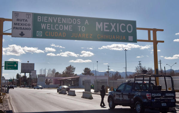Police officers take part in a security operation in a street of Ciudad Juarez, Chihuahua state, Mexico.