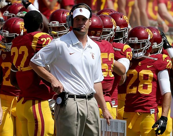 Coach Lane Kiffin and the Trojans averaged only 66 plays per game through three games, with each play taking an average of 30.8 seconds.