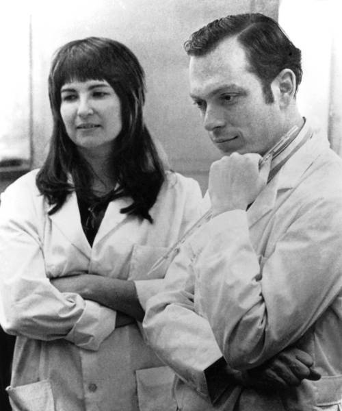 Candace Pert, left, is shown with Solomon H. Snyder, her graduate advisor at Johns Hopkins University. Though Pert said Snyder forbid her from researching the opiate receptor in the brain, it was Snyder who received the prestigious Lasker Award in 1978 for the pioneering work.