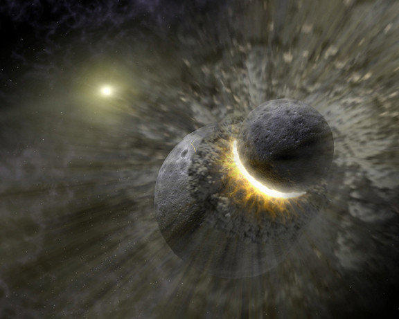 An artist's rendering shows a planetary collision near the star Vega. The Earth's moon may have formed from the debris of such an impact between Earth and another body.