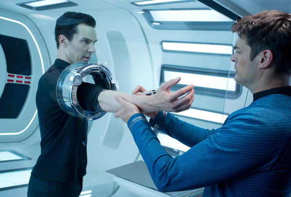 "Benedict Cumberbatch, left, and Karl Urban star in ""Star Trek Into Darkness."""