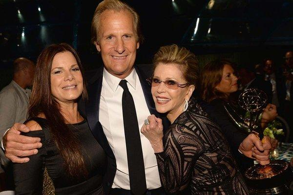 Marcia Gay Harden, left, Jeff Daniels, Jane Fonda and Daniels' best actor Emmy Award attend HBO's post party at the Pacific Design Center.
