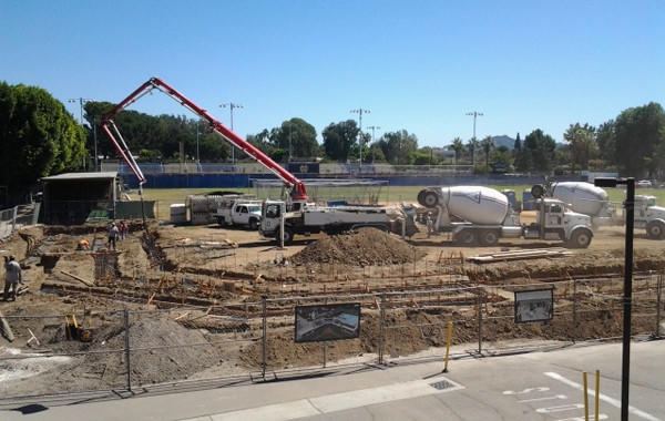Concrete being poured for Notre Dame's new baseball stadium.