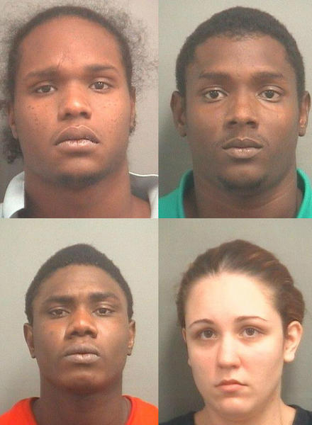 Clockwise from top left, Sugree Joslyn James, Ewan Hunter, Geovanne McLaughlin, and Alyssa Horaz. Each face drug-related charges after Palm Springs police executed a search warrant on Sept. 20, 2013.