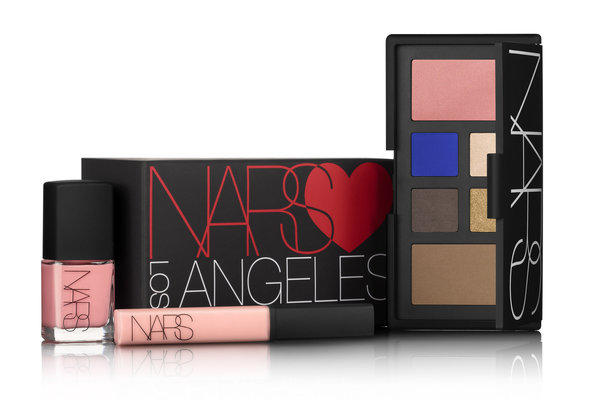 Nars Loves Los Angeles contains. an eye and cheek palette, right, with four shades of eyeshadow - pearl Abyssinia, bright cobalt Outremer, brown Bali and antique gold - as well as sheer peach Deep Throat blush and Laguna Bronzing Powder with golden shimmer. Also in the package are seashell pink Trouville nail polish, left, and Turkish Delight lip gloss.